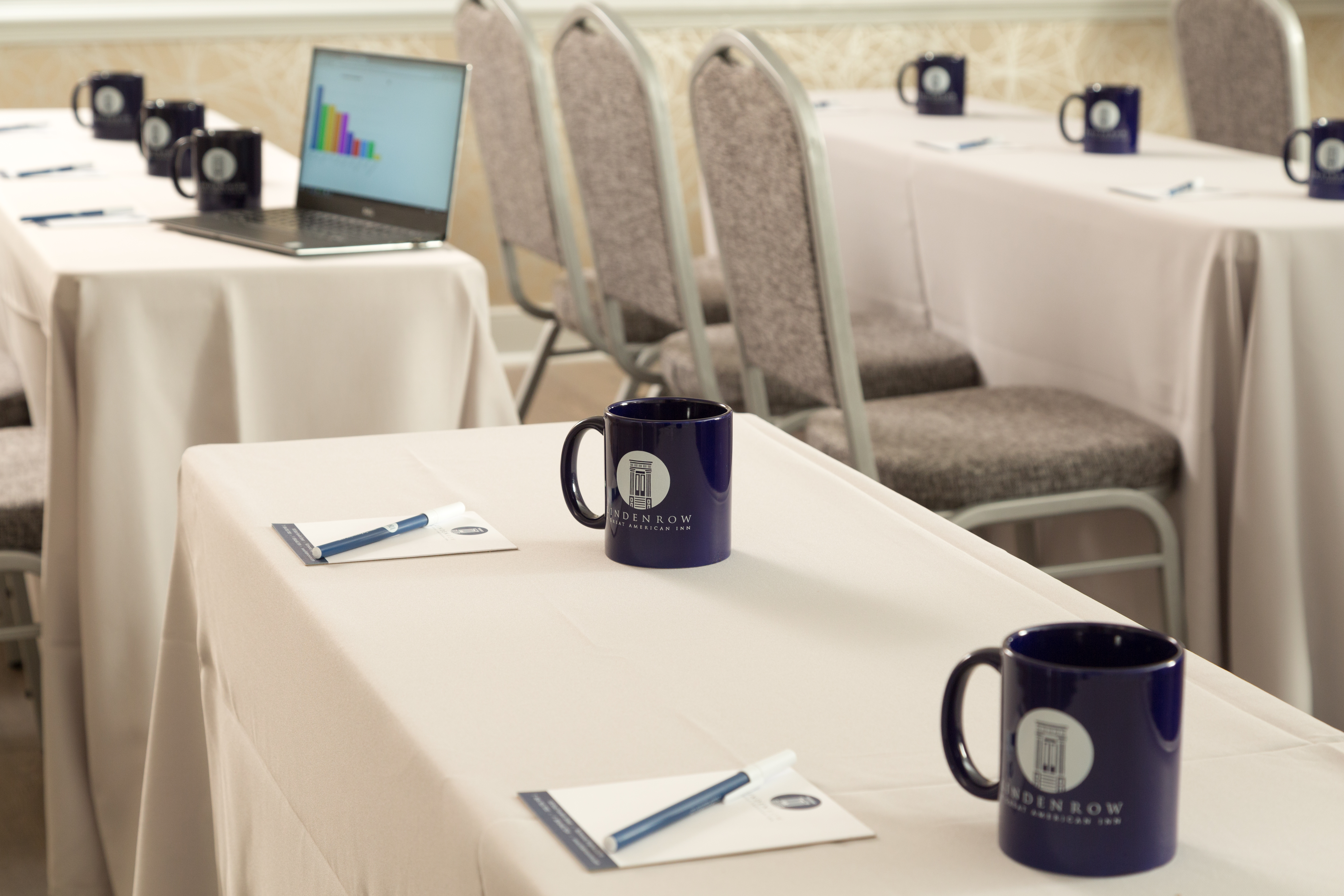 Board room with Linden Row mugs