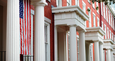 Building Front with Flag