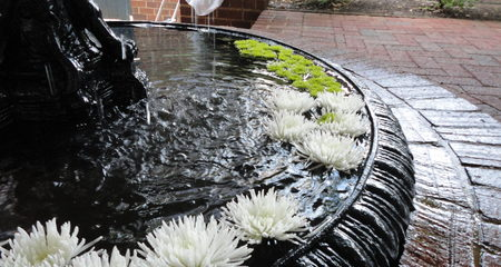 Fountain with floating flowers